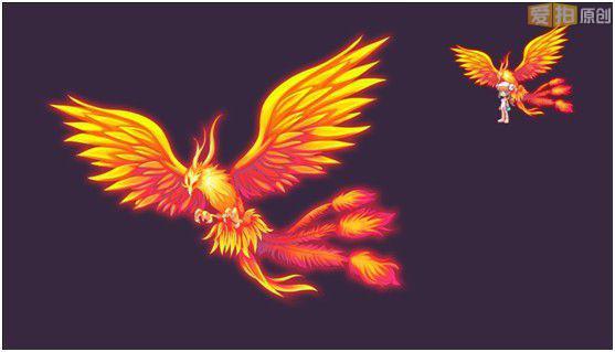 卡通火焰鸟壁纸少女